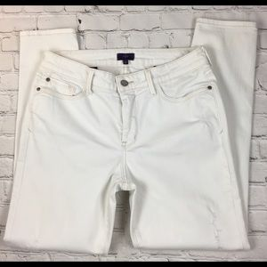 "NYDJ ""Super Skinny"" Distressed White Jeans sz 10"